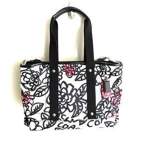 New COACH Graffiti Poppy Floral Black/White Bag